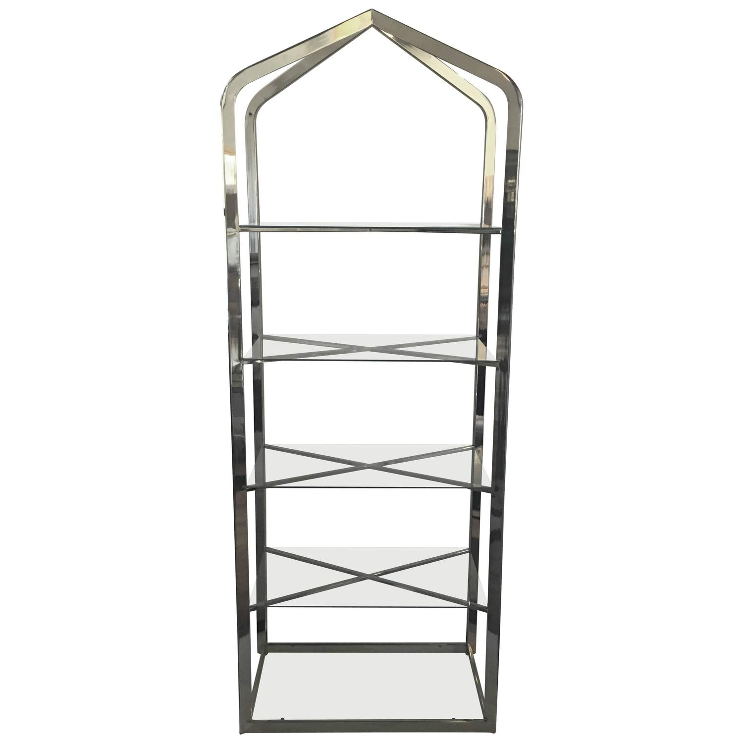 chrome brass glass tall mid century modern etagere at stdibs - midcentury modern brass and glass etagere
