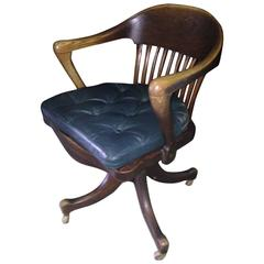 19th Century American Oak Desk Chair from Railroad Station