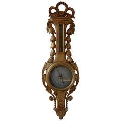 18th Century French Louis XVI Gilt Wood Barometer