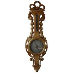 18th Century French Louis XVI Gilt Wood Barometer