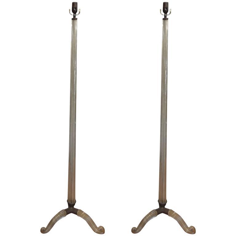 Pair of Barovier Italian Murano Glass Tripod Floor Lamps