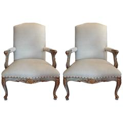 Large Pair Of Antique French Louis XV Style Painted And Gilt Armchairs