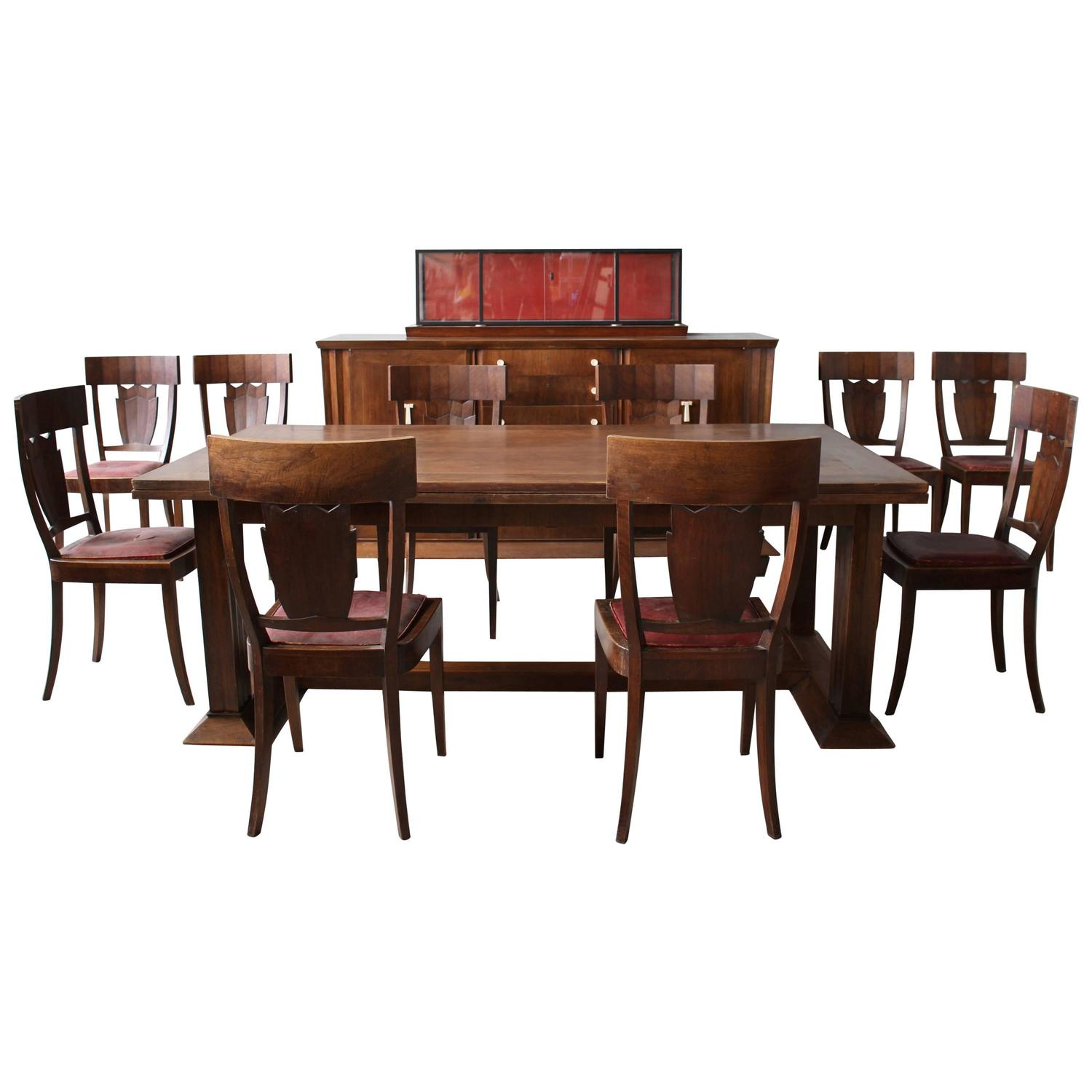 Rare french art deco walnut dining room set by jean for Dining room paintings sale