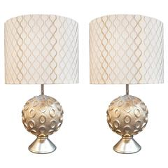 Pair of Bryan Cox White Gold Leaf Perth Lamps