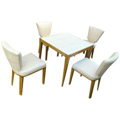 "Jean Royère Documented Playing Card Set of Four ""Ecusson"" Chairs and One Table"