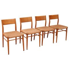 Four Birch Dining Chairs, Georg Leowald for Wilkhahn