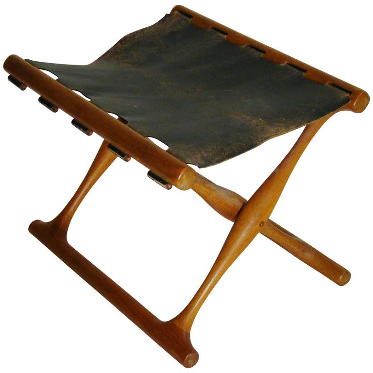 Poul Hundevad Teak Leather Gold Hill Stool  SATURDAY SALE 1