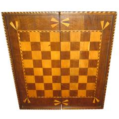 19th Century Inlaid Wood Folding Game Board, Chess, Checkers and Backgammon
