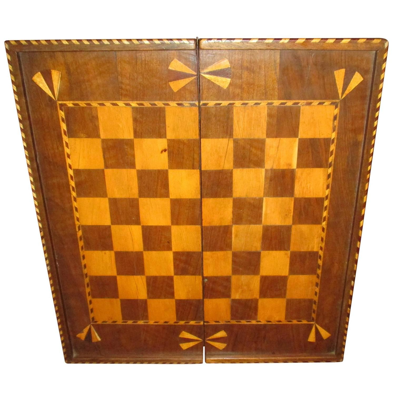 19th Century Inlaid Wood Folding Game Board Chess