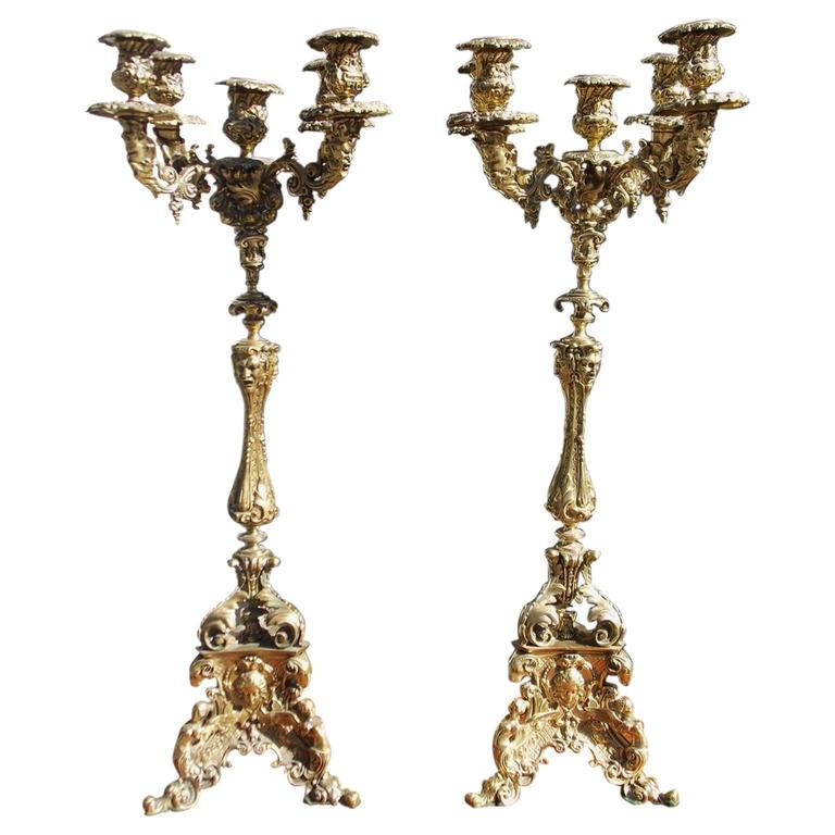 Pair of Italian Bronze Figural and Floral Candelabras, Circa 1830 For Sale