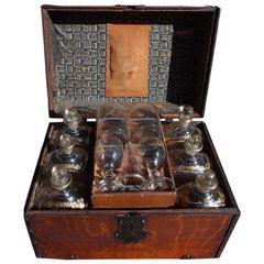 English Oak Liquor Bottle Traveling Case, Circa 1780