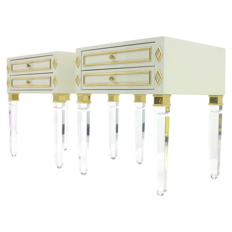 Pair of Nightstands, Lucite, Wood and Brass, 1970s