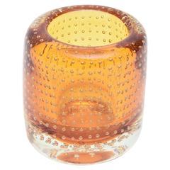 Heavy Bullecante Italian Murano Seguso Glass Vase or Candleholder
