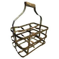 Early 20th Century Vintage French Six-Bottle Wine Carrier Basket