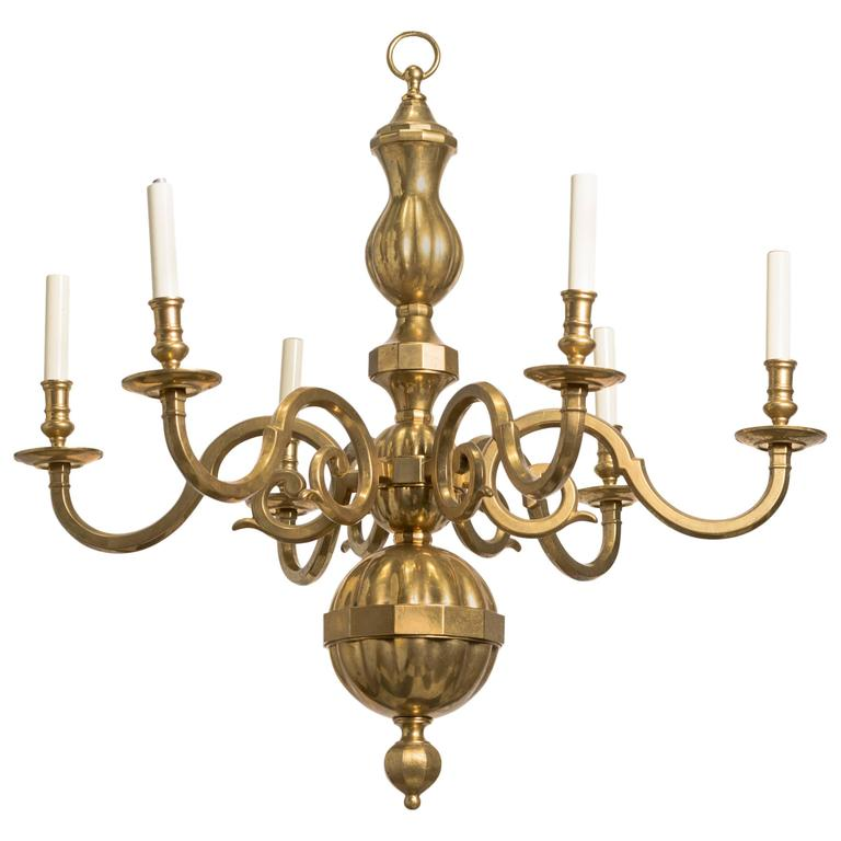 Classic2 Six Light Ring Chandelier: Traditional Solid Brass Six-Arm Chandelier At 1stdibs