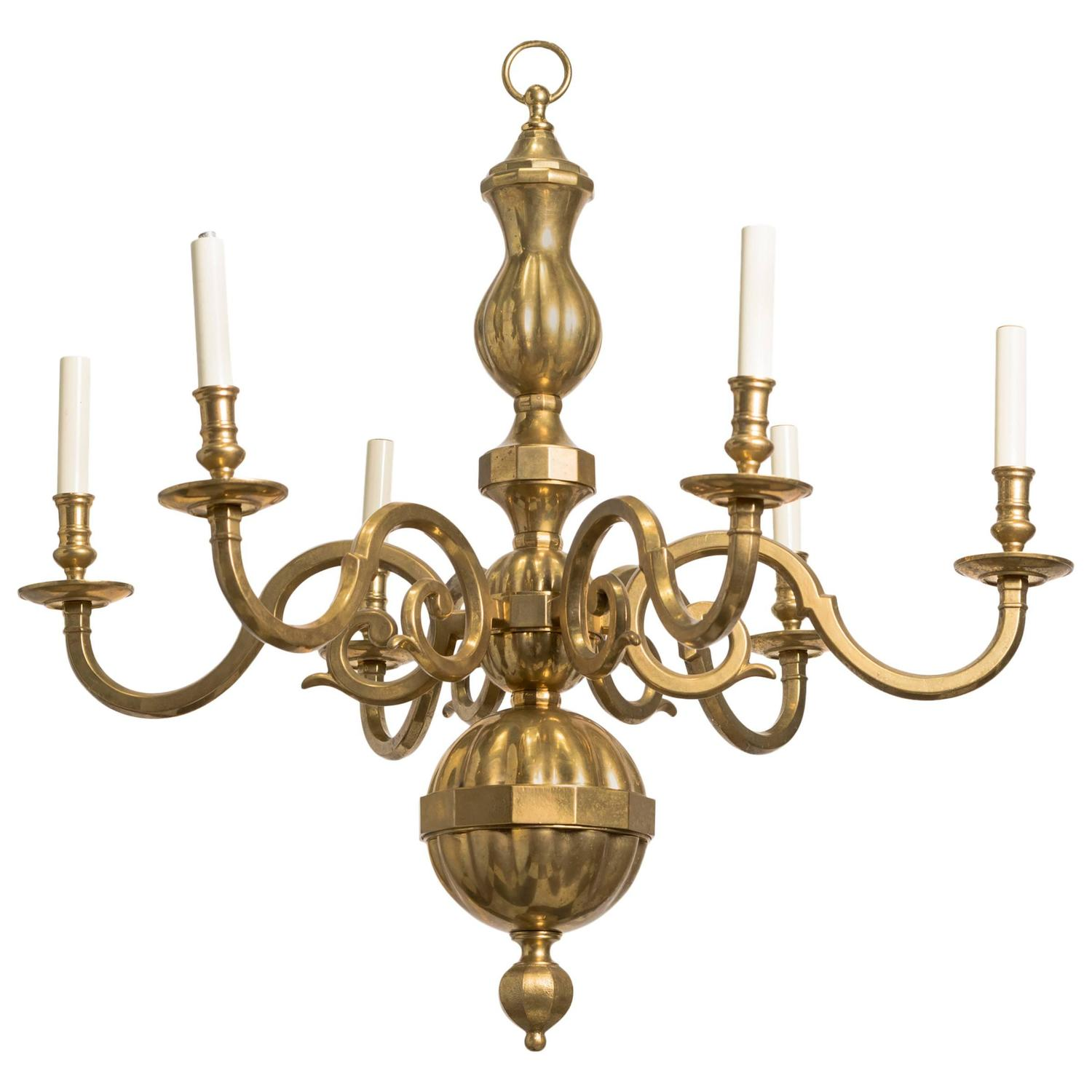 Traditional Solid Brass Six Arm Chandelier At 1stdibs