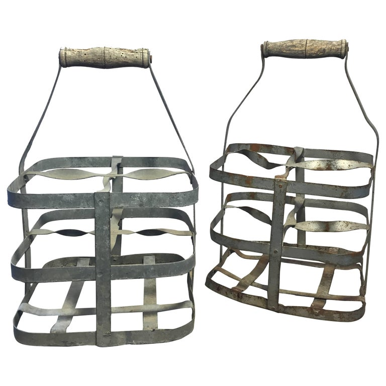 Early 20th Century Vintage French Four-Bottle Wine Carrier Baskets For Sale