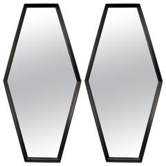 Pair of Ebonized Hexagon Mirrors