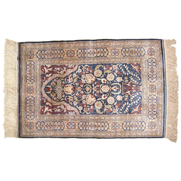 Antique Turkish Hereke Oriental Rug With Weaver S Mark In Small Size Silk Pile For