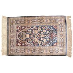 Antique Turkish Hereke Oriental Rug with Weaver's Mark in Small Size, Silk Pile