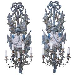 Pair of Five Light Spanish Carved Sconces