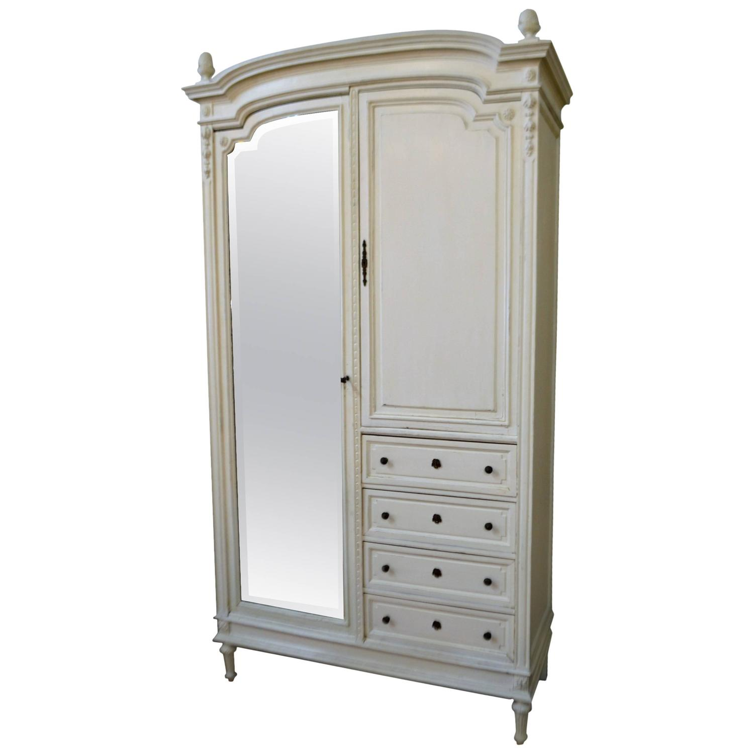 19th century louis xvi style painted armoire at 1stdibs. Black Bedroom Furniture Sets. Home Design Ideas