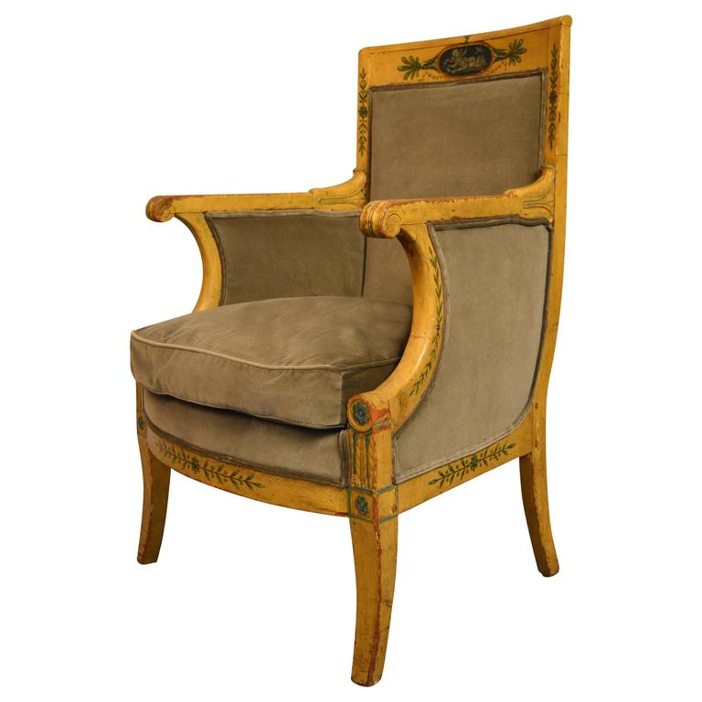 Austrian Bergere Armchair Circa 1820 Painted with Classical Intaglios For Sale