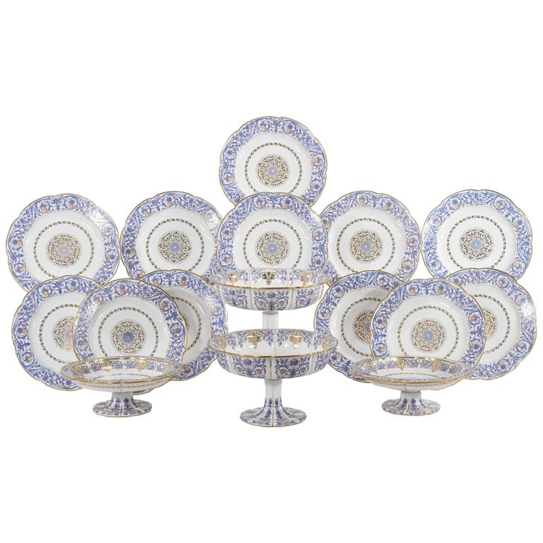 19th Century Sevres Neoclassical Blue and Gold Dessert Service with 16 Pieces