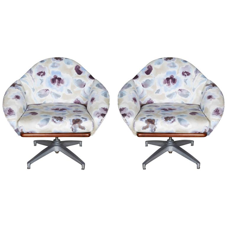 Pair of Floral Upholstered Swivel Base Chairs