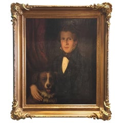 American Oil on Canvas Painting in Original Frame of a Gentleman with Dog