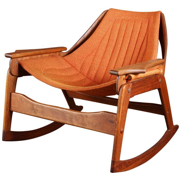 Rare Jerry Johnson Midcentury Walnut Rocking Chair