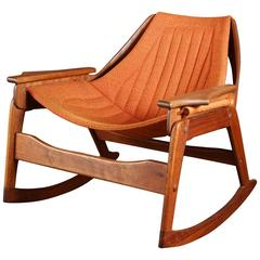 Rare Jerry Johnson Midcentury Walnut Rocking Chair