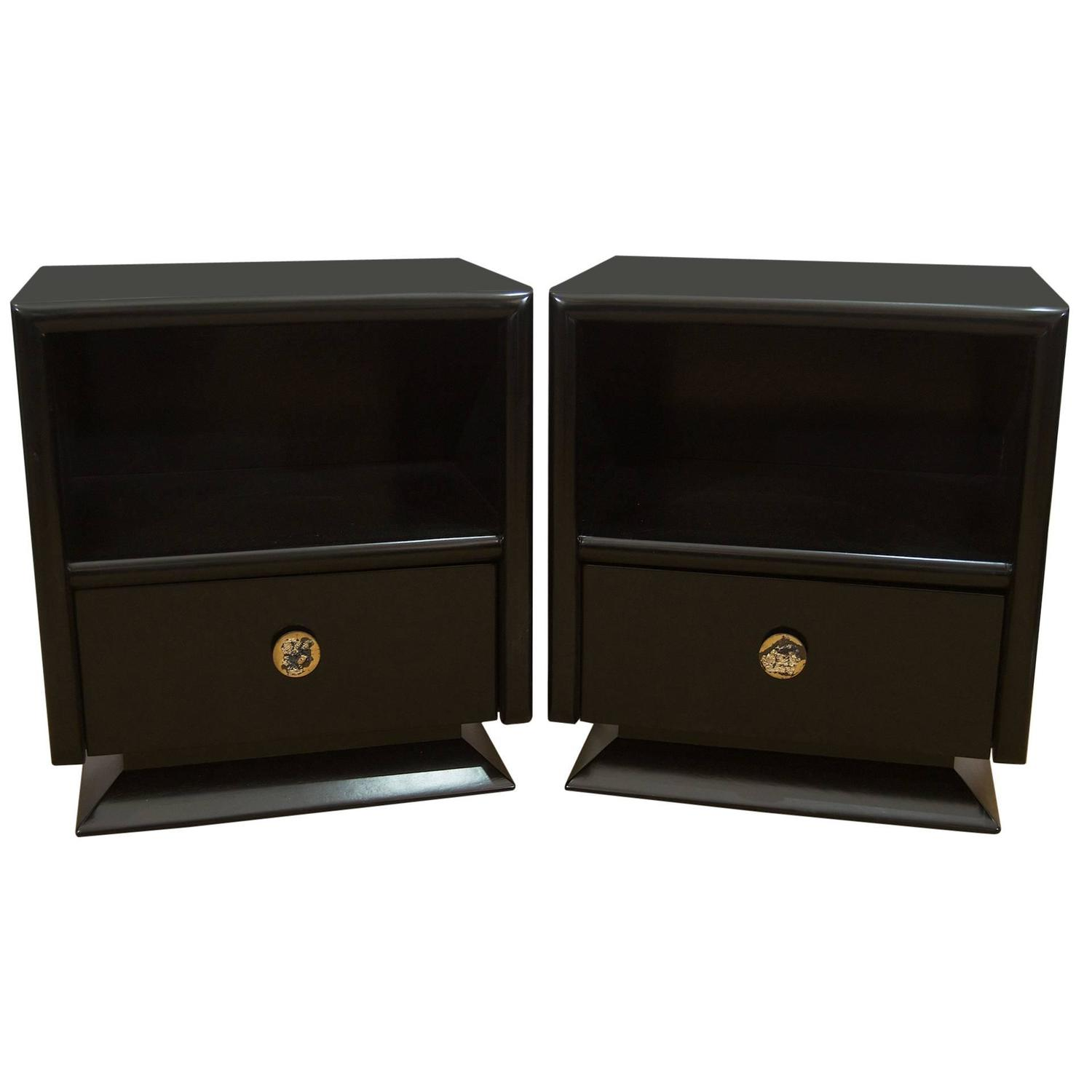 Pair Of Black Lacquer Nightstands At 1stdibs