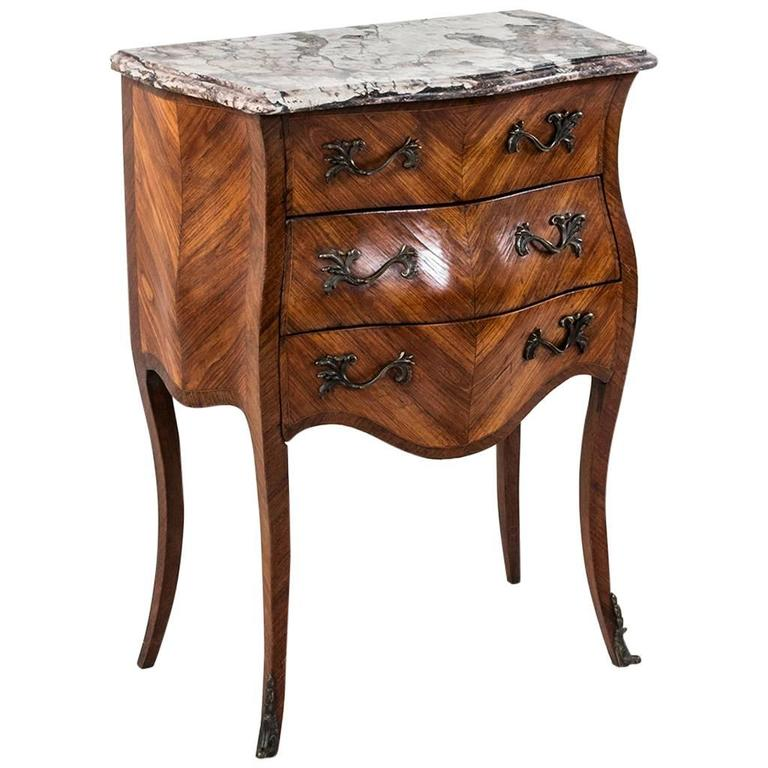 18th Century French Louis XV Parquetry Marble-Top Commode or Chest For Sale