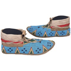 Antique Native American Indian Beaded Moccasins, Sioux, Late 19th Century