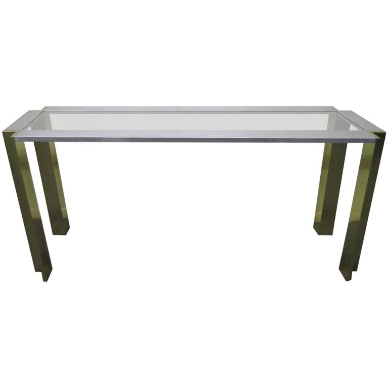 Romeo Rega Brushed Aluminum and Brass Console Table Mid-Century Modern