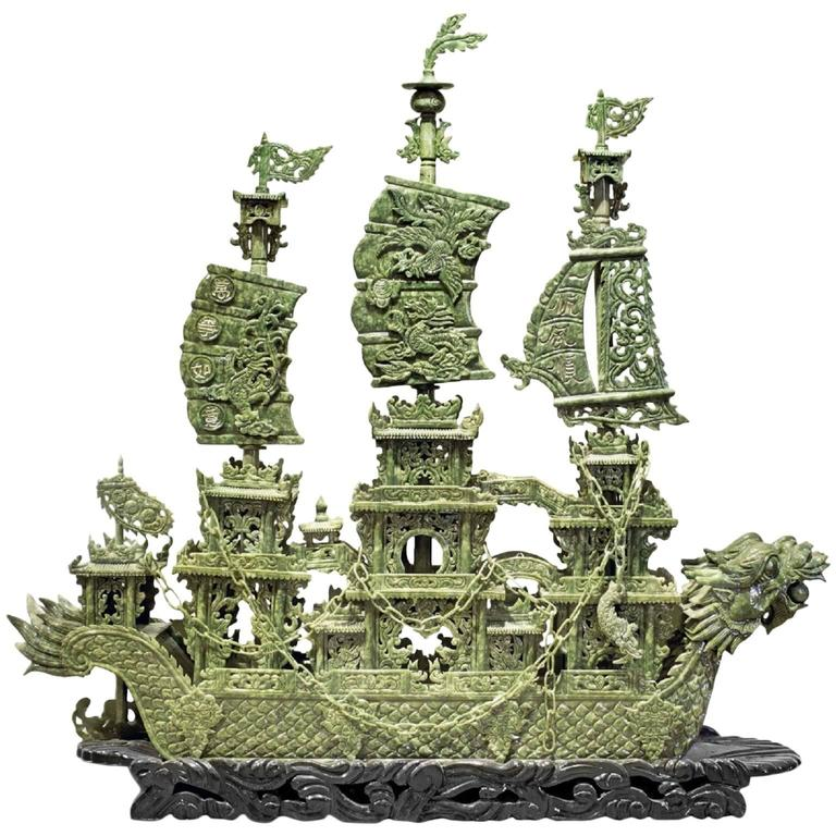 Chinese Carved Serpentine Dragon Ship At 1stdibs