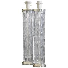 Pair of Bohemian Crystal Table Lamps