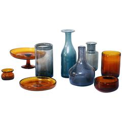 Erik Hoglund Set of Nine Unique Glass Vases by the Artist for Boda, Sweden