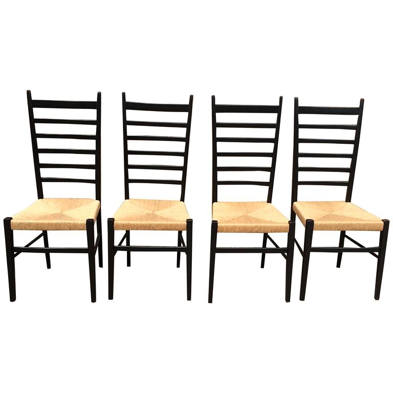 Set Of Four Gio Ponti Ladder Back Chairs For Sale