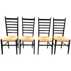 Set Of Four Gio Ponti Ladder Back Chairs