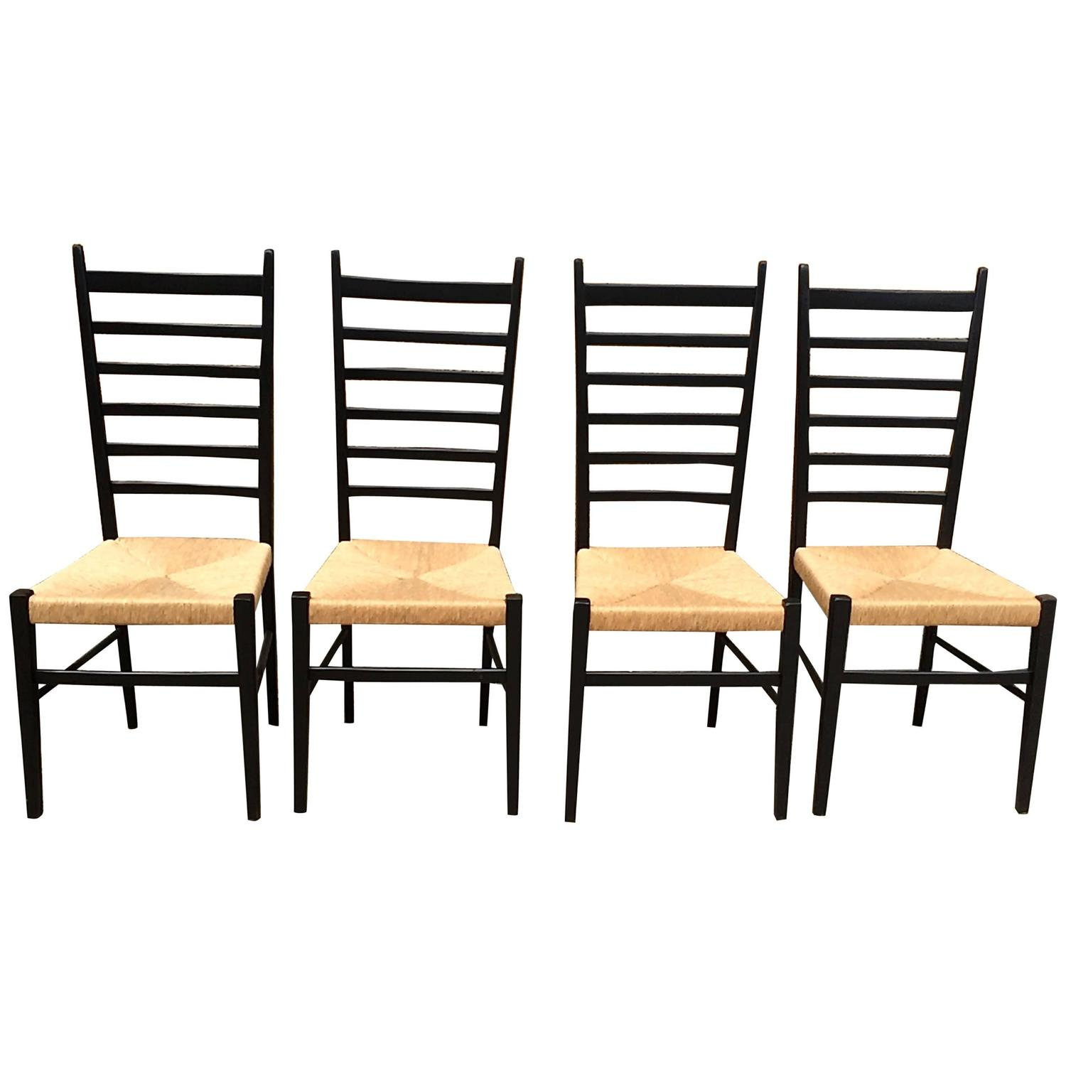 Set of Four Gio Ponti Ladder Back Chairs For Sale at 1stdibs