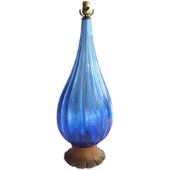 Large Blue Barovier Murano Glass Table Lamp