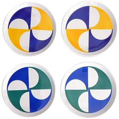Gio Ponti Earthenware Modernist Plates, Set of Four