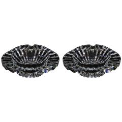Pair of 1970s, Baccarat Heavy Crystal Ashtrays