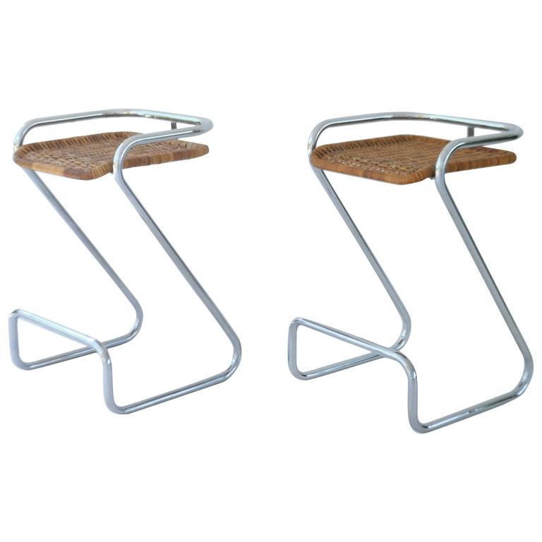 Pair Of Sculptural Chrome And Woven Wicker Bar Stools For