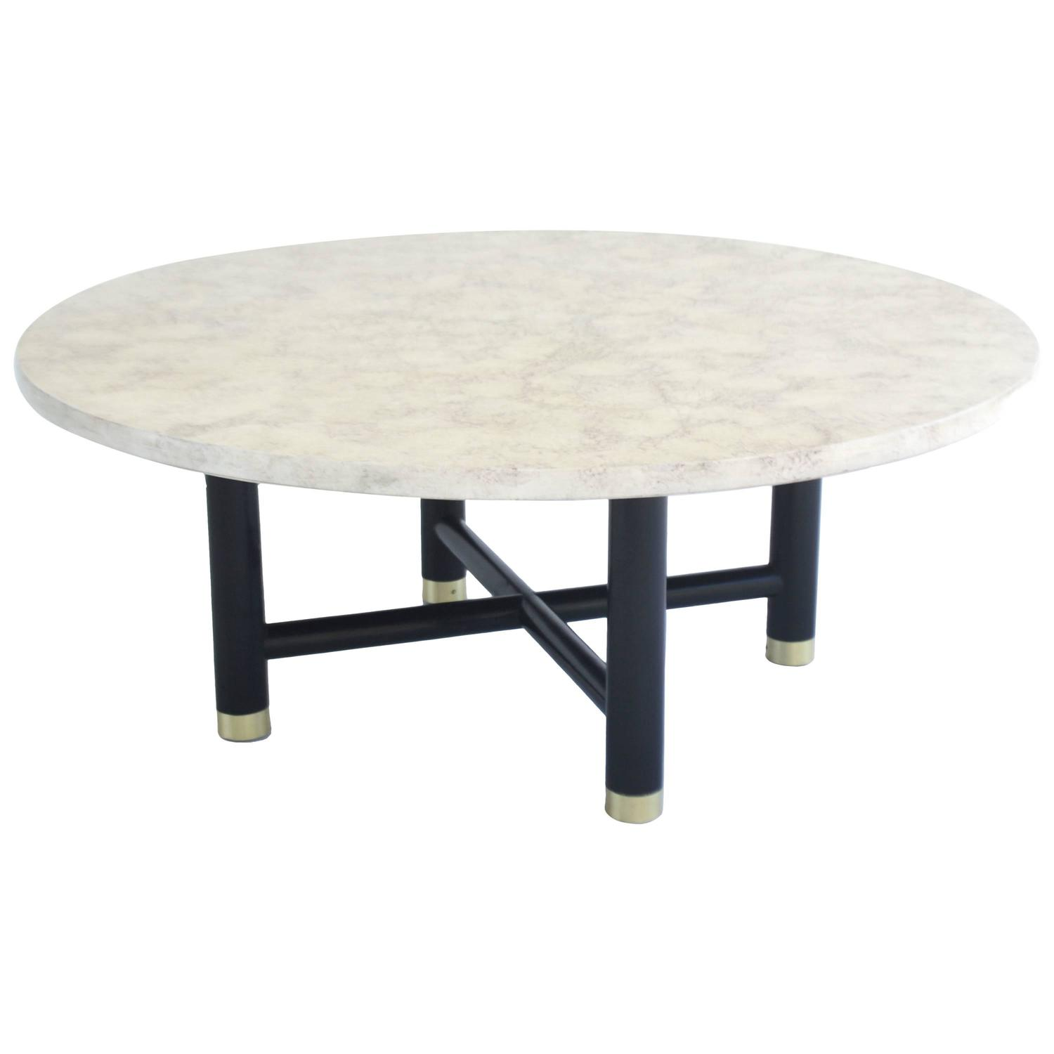 Round Marbleized Cocktail Table On Ebonized Base At 1stdibs