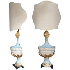 Pair of 18th Century Italian Silver Giltwood Architectural Fragments as Lamps