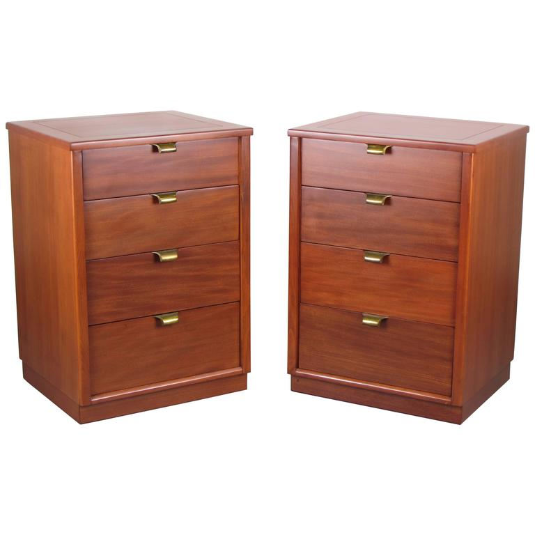 Pair Of Gorgeous Mahogany Nightstands By Edward Wormley For Drexel 1950s At 1stdibs
