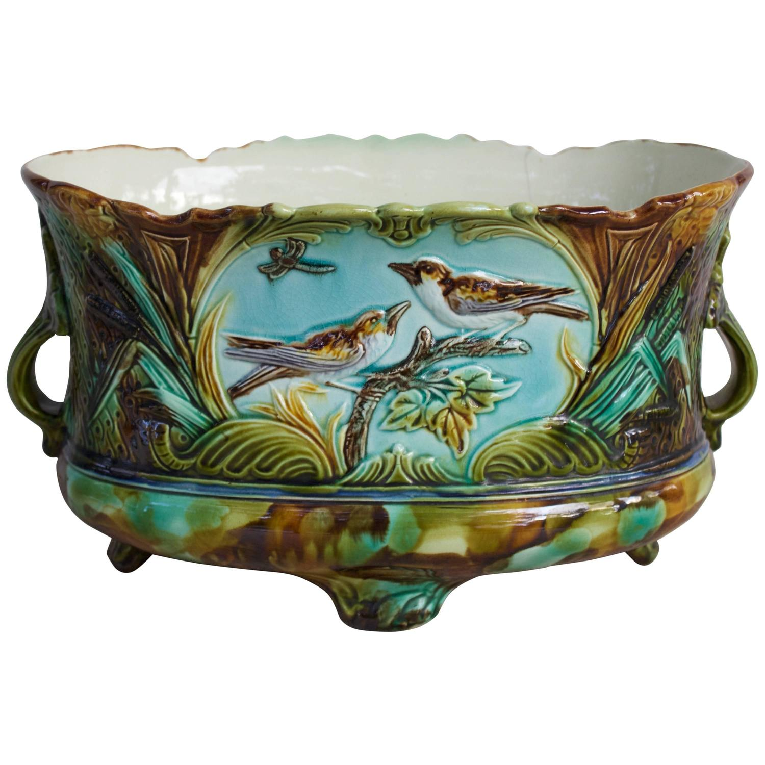 19th century french majolica jardiniere or cache pot at. Black Bedroom Furniture Sets. Home Design Ideas